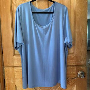 Pretty Robin Egg Blue Dressy Work Tee Shirt 3X